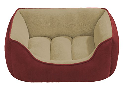 Beatrice-Home-Fashions-SUETB24RDT-Suede-Reversible-Cuddler-Bed-for-DogsCatsPets-RedTan