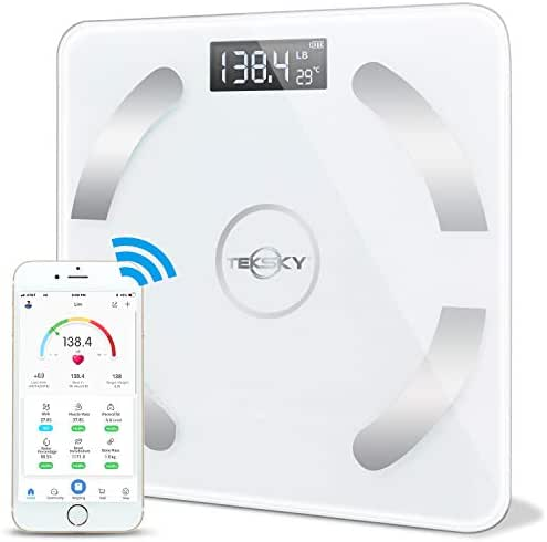 TekSky Smart Body Fat Scale, Wireless Body Composition Monitor with Bluetooth iOS and Android App - Body Fat, Water, Muscle, BMI Analyzer - Max 400 lbs