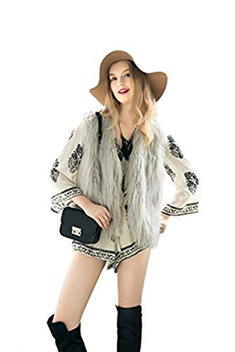 Chalecos V Termica Elegantes Piel Outerwear Mujer Sólidos Cuello Coat Piel Sintética Invierno Fashion Otoño Grau Mangas De Colores Chaleco De Chaquetas Abrigos Sin Piel XH4Ux