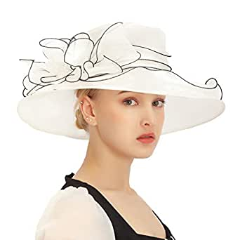 Felizhouse Fascinator Chruch Tea Hat Kentucky Derby Hats for Women Bridal Wedding Sun Hats - White - Large