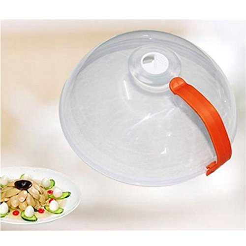 KAKA(TM Practical Plastic Microwave Plate Cover Spatter Guard with Steam Vented Clear Lid Kitchen Tool