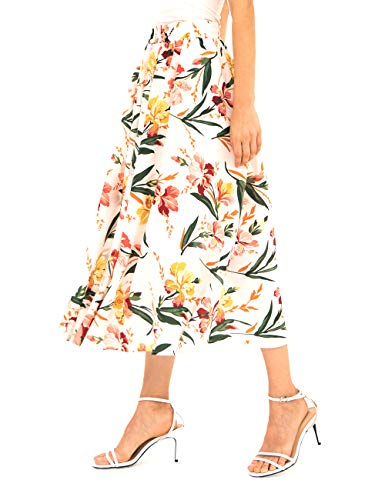 Chiffon Maxi Skirt for Women - Long Floral Skirt Great for Travel, Beach, Cocktail or Party (XL, Chiffon Skirt White)