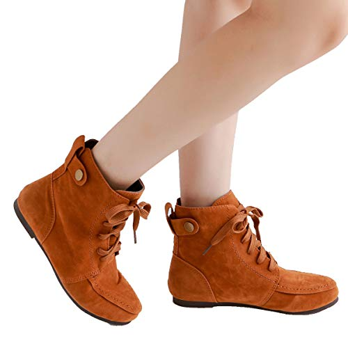 up Flat Ankle Martin Boots Camel Combat Fashion Women Lace Suede Boots 17xTUp