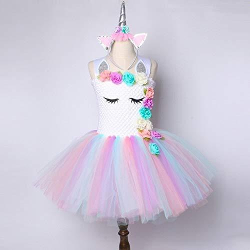 Flower Girls Unicorn Tutu Dress Pastel Rainbow Princess Girls Birthday Party Dr