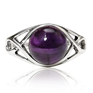 925 Sterling Silver Genuine Purple Amethyst Celtic Knot Triquetra Trinity Knot Ring