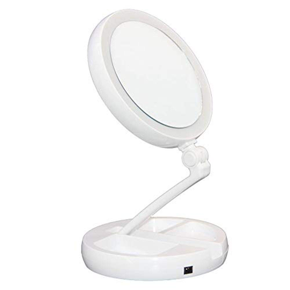 Floxite 10x Plus 1x Lighted Folding Home and Travel Mirror