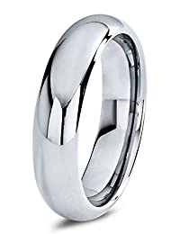 Tungsten Wedding Band Ring 6mm for Men Women Comfort Fit Domed Round Polished Lifetime Guarantee