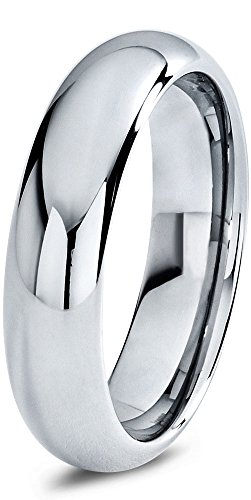 Tungsten Wedding Band Ring 6mm for Men Women Comfort Fit Domed Round Polished Size 15