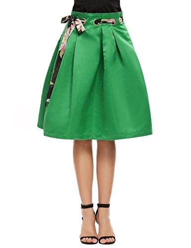 (Zeagoo Women's High Waisted A line Pleated Full Midi Skirt with Printed Chiffon Belt)