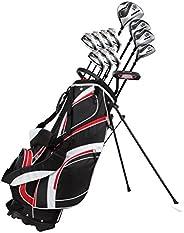 18 Piece Men's Complete Golf Club Package Set with Titanium Driver, 3 & #5 Fairway Woods, 4 Hybrid, 5-