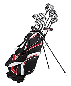 """18 Piece Men's Complete Golf Club Package Set With Titanium Driver, #3 & #5 Fairway Woods, #4 Hybrid, 5-SW Irons, Putter, Stand Bag, 4 H/C's (Red, Tall Size +1"""")"""