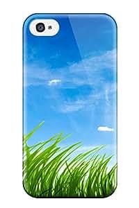 5762216K93632877 New Premium Flip Case Cover Blue Sky Green Grass Skin Case For Iphone 4/4s