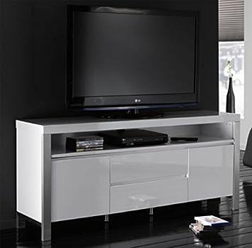 Tv Möbel Weiß Hochglanz Mit Edelstahl Stollen Amazonde Küche