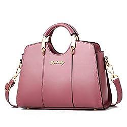 Designer Handbag Ladies Pu Leather Shoulder Bag Women Top Handle Purse Pink F