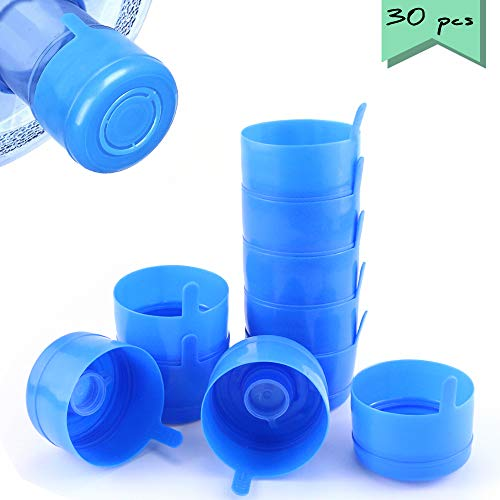 Neworkg 30 Pack Non Spill Cap Anti Splash Bottle Caps, BPA-Free Bottle Caps for 55mm 2,3 and 5 Gallon Water Jug