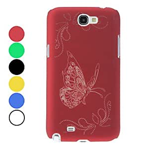 Butterfly Pattern Noctilucent Hard Case for Samsung Galaxy Note 2 N7100 (Assorted Colors) --- COLOR:Red