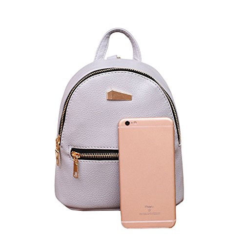 ZHANGVIP Mini Gray Satchel Backpack Women College Travel Rucksack Shoulder Leather School Tiny pack Bag wqrgOPwx