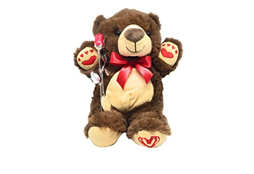 Teddy Bear, 7.5 inch Silver Plated Non-Tarnishing Red Rose.