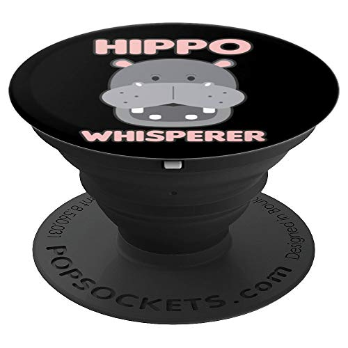 Hippo Whisperer Funny Hippopotamus Hippos Zoo Gift PopSockets Grip and Stand for Phones and Tablets ()