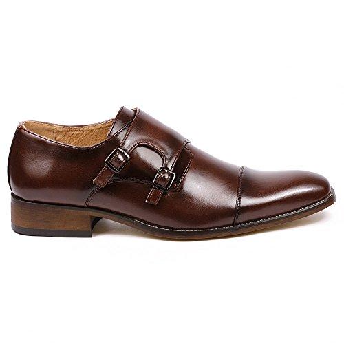 Image of Metrocharm MC103 Men's Double Monk Strap Cap Toe Slip On Loafers Dress Shoes