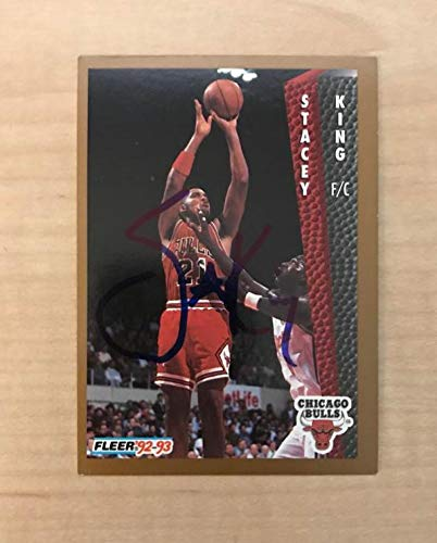 STACEY KING CHICAGO BULLS SIGNED AUTOGRAPHED 92-93 FLEER CARD #33 W/COA