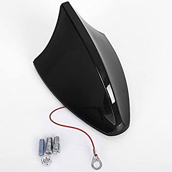 WOLTU Antena universal para coche antena de techo antena de tiburón AM & FM Negro Brillante 7022-b