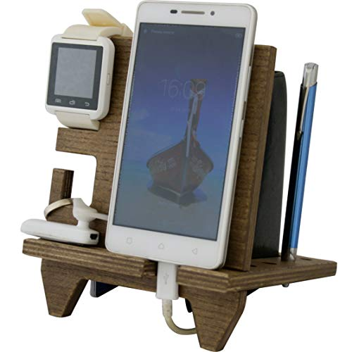 Compact Cell Phone Stand Watch Holder. Men Device Dock Organizer Wood Mobile Base Nightstand Charging Docking Station. Women Accessory Wooden Storage Bed Side Caddy Teen Valet Happy Birthday Gift