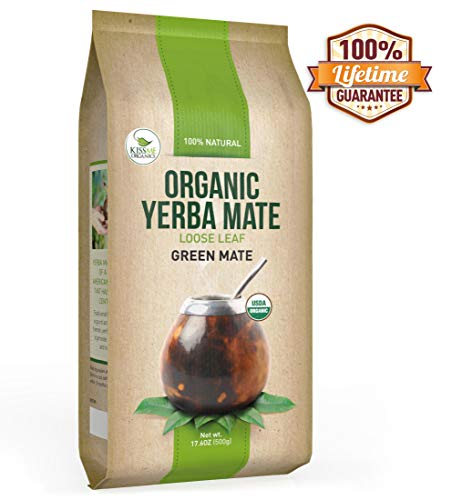 Mate Green Organic Yerba (Organic Yerba Mate Loose Leaf Tea - Traditional South American Green Tea Drink - Provides Energy Boost and Aids Digestion - Packed with Antioxidants (500g))