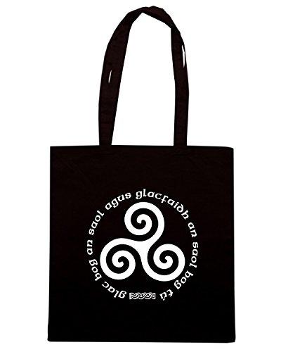 T-Shirtshock - Bolsa para la compra T0117 TRISKELL religioni celtic Negro
