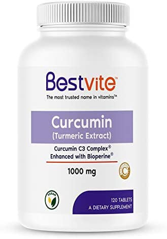 Curcumin 1000mg Turmeric 120 Tablets Made with Curcumin C3 Complex Bioperine – Standardized to 95 Curcuminoids – Vegan