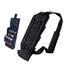 1PCs Hunting Gun Bag Tactical Shotgun Rifle Scabbard Sheath With Molle Webbing Fit for Barrel Under H12 (black+12G molle pouch)
