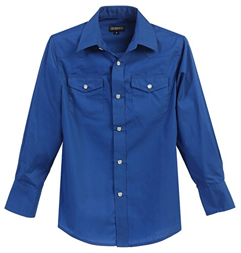 - Gioberti Big Boys Casual Western Solid Long Sleeve Shirt with Pearl Snaps, Royal Blue, Size 8