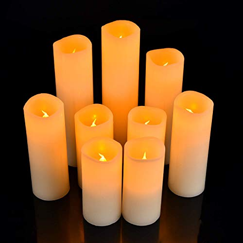 zhongshanshizhiyongbaoanfuwuyouxiangongsi Candle -Real Wax Battery Candle Pillars for Home Decoration, With10-key Remote Control Timer 300 Hours