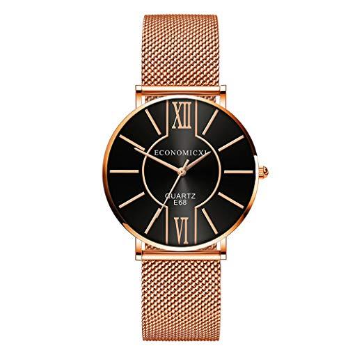 AckfulFashion Rose Gold Watches Women Wristwatches Luxury Mesh Strap Quartz Watches (Black)