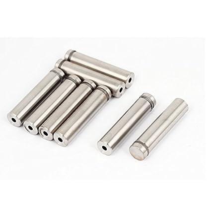 8pcs Publicidad de cristal sin marco 16x70mm de acero inoxidable Pasadores de separadores