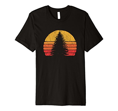 Tree Graphic - Retro Sun Minimalist Pine Tree Design - Graphic T-Shirt