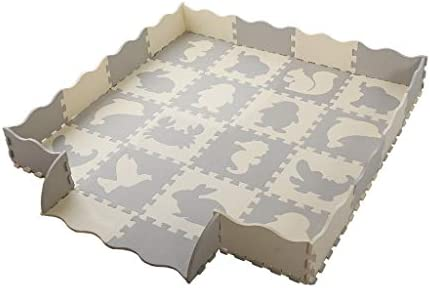 Baby Play Mat and Fence,36 Pieces 0.4 Thick Interlocking Foam Floor Tiles with 16 Patterns,Playroom Non Toxic Crawling Mat for Infants,Baby,Toddler Gray and White, 56 in x 56 in