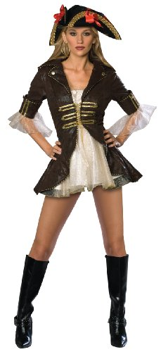 Secret Wishes Sexy Buccaneer Costume, Brown/Cream, Large (Sexy Pirate Costume)