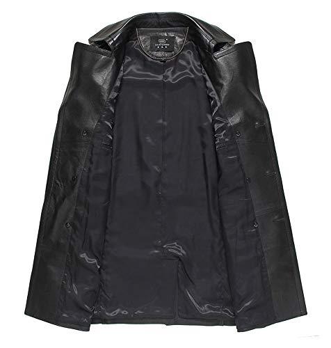 Versión Escudo Negro Cinturón Rompevientos Piel XXL Coreana Ropa Cuero Black XSQR Hombre Ocio Doble Sección Media Oveja Botonadura Cuero De Solapa De Y Larga xTqww641