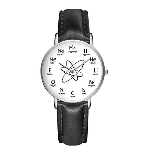 (36mm Silver Chemistry Watch with Chemical Elements (Black Leather Strap))