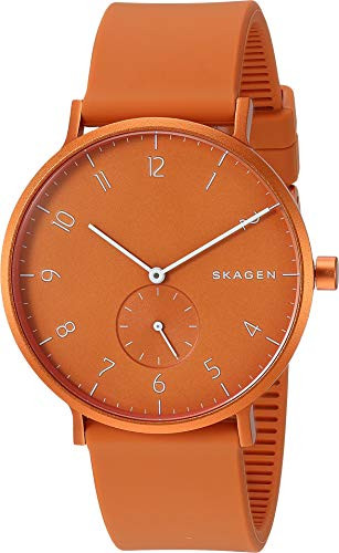 Skagen Men Aaron Kulor Quartz Stainless Steel and Silicone Watch Color: Orange, (Model: SKW6511)