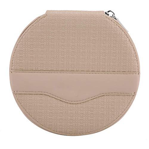 Car Round CD Mini Bag, Car Universal Round 24 Capacity Disc CD VCD DVD Storage Case Mini Bag Wallet(Beige(#3))