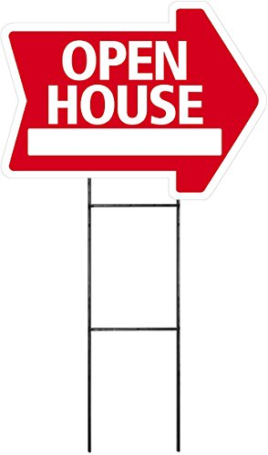 """OPEN HOUSE Sign - Arrow Shape Corrugated Sign INCLUDES 24"""" Sign Stake"""
