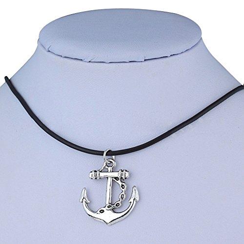 Pusheng Retro Charm Pendant Necklace Tibetan Silver Boho Black Rubber Cord Boat Anchor