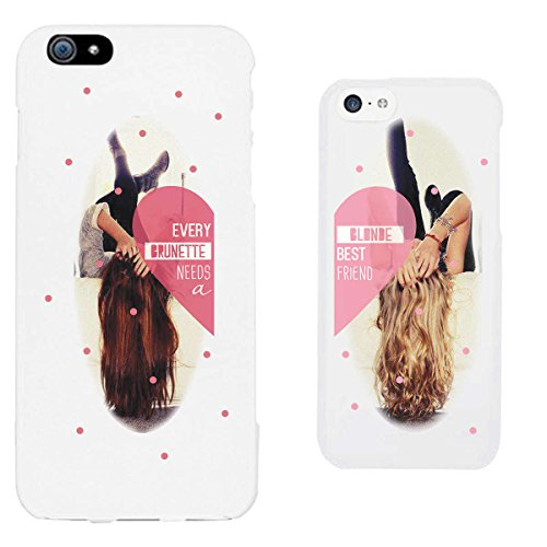 365 Printing Every Brunette and Blonde White Matching Best Friends Phone Cases Christmas Gift for ()