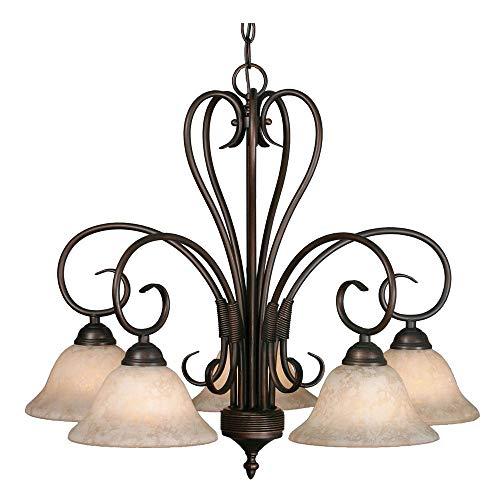 Golden Lighting 8606-D5 RBZ Homestead Five Light Nook Chandelier, Rubbed Bronze Finish ()