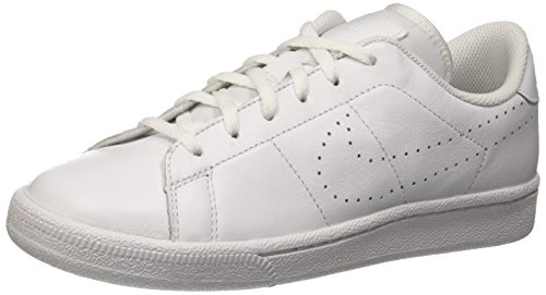 NIKE Kids Tennis Classic PRM (GS) White/White Tennis Shoe 3.5 Kids US by NIKE