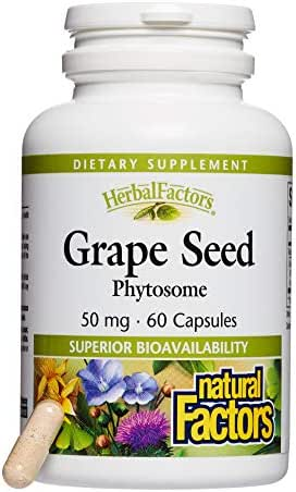 HerbalFactors by Natural Factors, Grape Seed Phytosome, Antioxidant Support for Healthy Eyes and Circulation, 60 capsules (60 servings)
