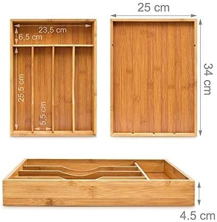 DIY Crafts or Stationary Organiser 5 Compartment Bamboo Wooden Cutlery Tray Holder Adjustable Kitchen Tidy Drawer Water Resistant and Anti Bacterial Perfect for Kitchen