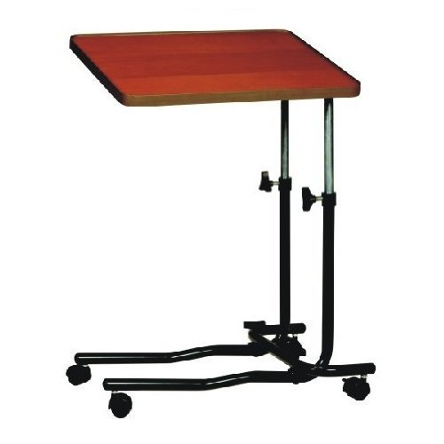 Brown Overbed Bed Table Adjustable with 4 Castors by Drive Medical